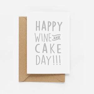 'Happy Wine And Cake' Birthday Card - birthday cards
