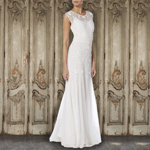 Beaded Ivory Gown With Belt - wedding dresses