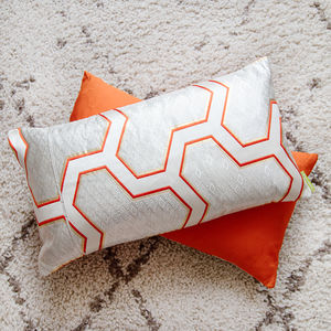 Orange And Silver Silk Obi Cushion - living room
