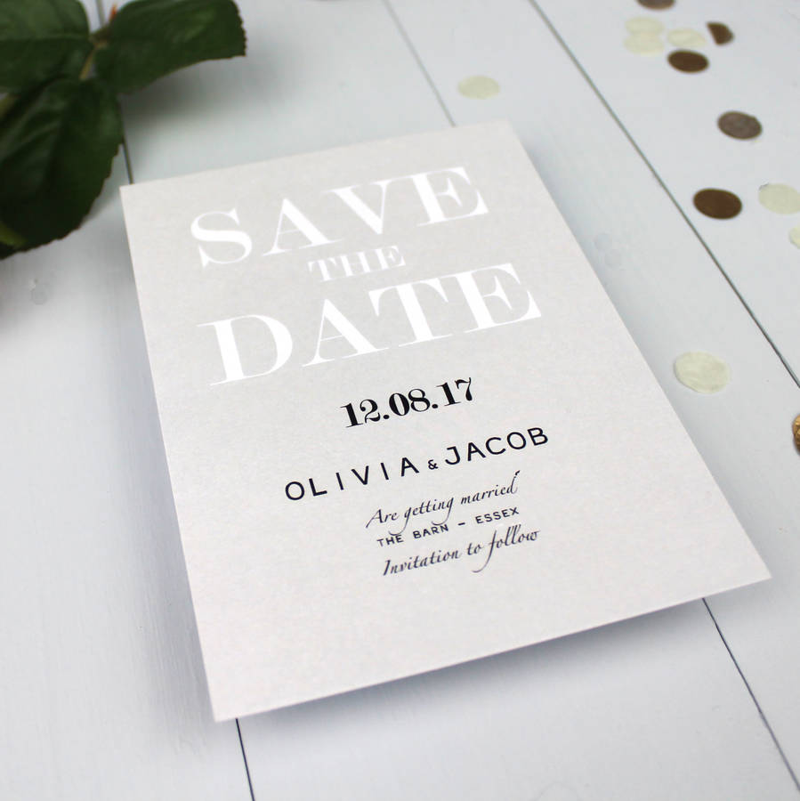 Modern Traditional Save The Date Card By Beija Flor Studio