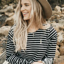 Seahorse Embroidered Striped Long Sleeve Breton Top