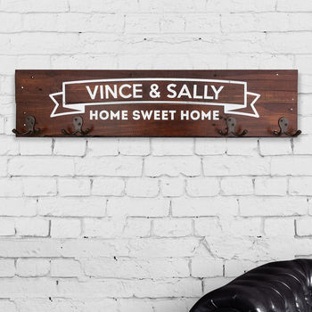 Personalised 'Home Sweet Home' Coat Hook Rack