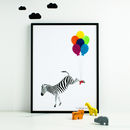 Flying Zebra Personalised Print With Felt