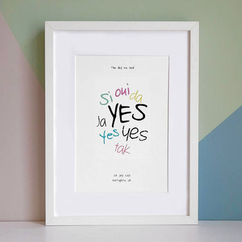 Multicoloured print in an A3 white frame