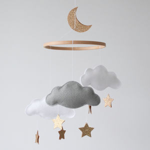 Personalised Cloud Star And Moon Baby Mobile - new in