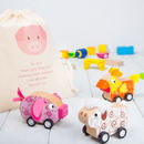 Wooden Pull Back Farm Animal Cars And Personalised Bag