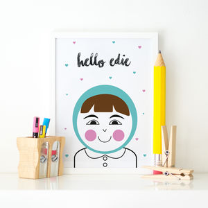 Hello Smiler Personalised Children's Print