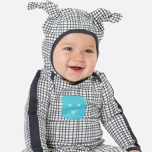 Checked Bear Motif Jumpsuit - baby shower gifts & ideas