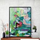 Abstract Art Wall Art Teal Prints Modern Decor 143