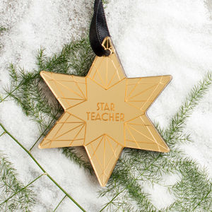 Personalised Star Teacher Wood Acrylic Christmas Bauble
