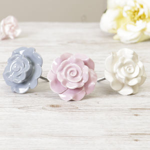 Delicate Rose Drawer Knob - door knobs & handles