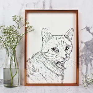 Personalised Pet Portrait Line Drawings - winter sale