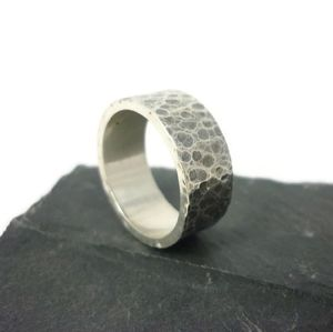 Oxidised Sterling Silver Ring 8mm - rings