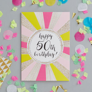 50th Birthday Foiled Greetings Card - birthday cards