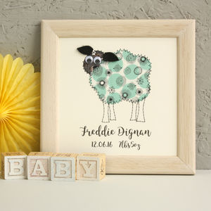 Personalised Sheep Embroidered Framed Art - animals & wildlife
