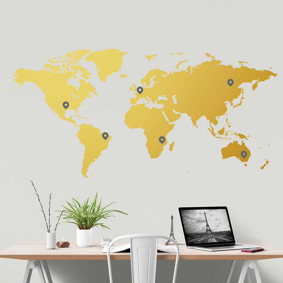 World map wall sticker by sirface graphics notonthehighstreet world map wall sticker gumiabroncs Image collections