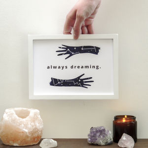 Positive Dreamer A5 Lettered Constellation Quote Print - posters & prints