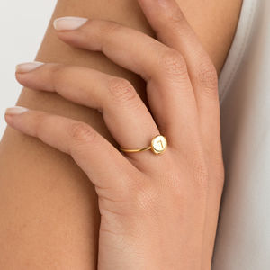 Personalised 18ct Gold Or Silver Initial Disc Ring - flower girl jewellery