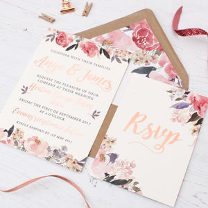 Rose Gold Floral Heirloom Wedding Invitation