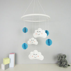 Cloud Mobile With Honeycomb Pom Poms - dreamland nursery