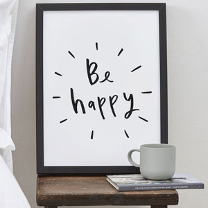 Be Happy Typography Print
