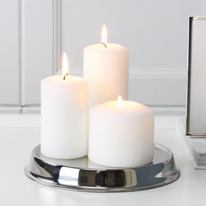 Round Silver Candle Stand - candles & home fragrance