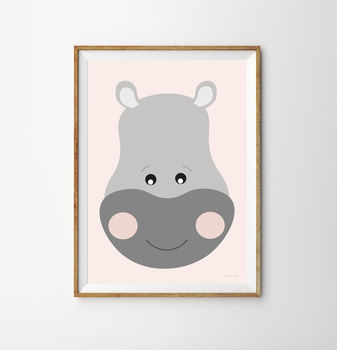 Hippo Children's Nursery Print