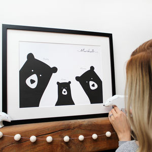 Personalised A3 Bear Family Selfie Portrait Print - posters & prints