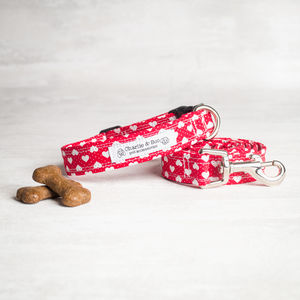 Red Heart Dog Collar And Lead/Leash Set