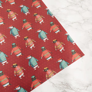 'Penguin Parade' Christmas Jumper Wrapping Paper - wrapping