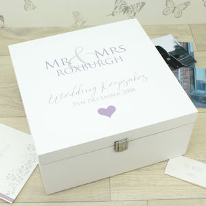 Large White Wooden Wedding Memory Box - keepsake boxes