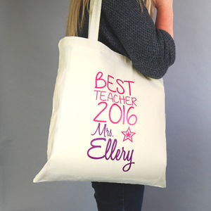 Personalised Best Teacher Tote Bag - womens