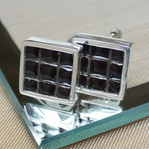 Ceramic Micro Tile Cufflinks - mens