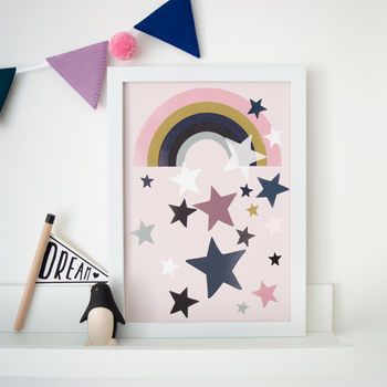 Modern Rainbow Star Children's Nursery Print
