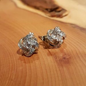 Cubic Zirconia And Sterling Silver 'Knot' Earrings