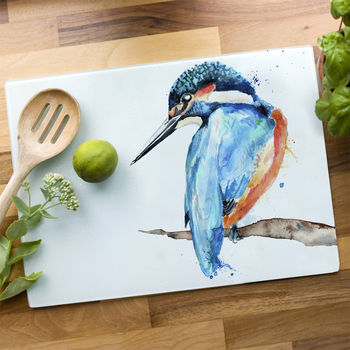 Inky Kingfisher Glass Worktop Saver
