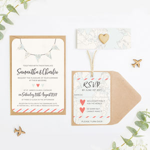 Travel Collection Map Bunting Wedding Invitation Bundle - invitations