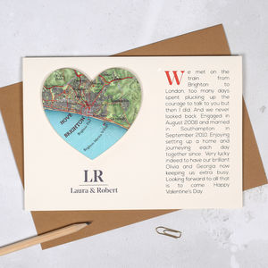 Where We Met Personalised Map Heart Card - original valentine's cards