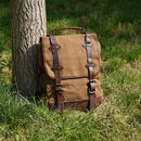 Waxed Canvas Backpack With Leather Handle