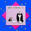Glitter Happy Birthday Cat Greeting Card