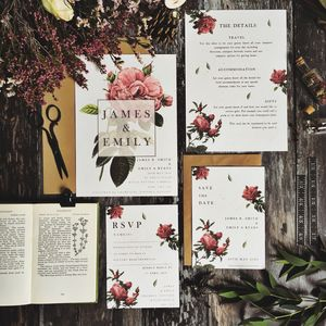 Vintage Rose Botanical Wedding Stationery - invitations