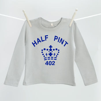Navy and grey half pint t shirt for children
