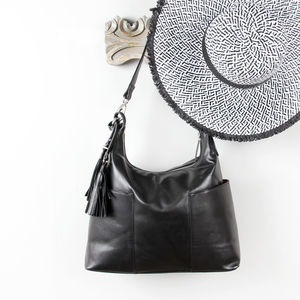 Amesbury Leather Slip Pocket Shoulder Bag With Tassel