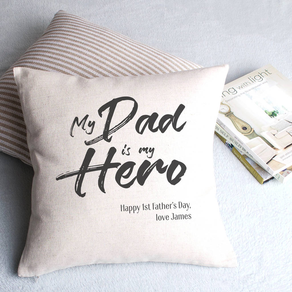 My Dad Is My Hero Personalised Cushion Cover