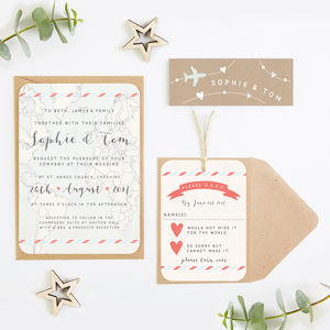 Travel Map And Kraft Wedding Invitation Bundle - invitations
