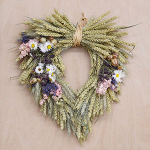 Country Garden Heart Wheat Wreath - wreaths