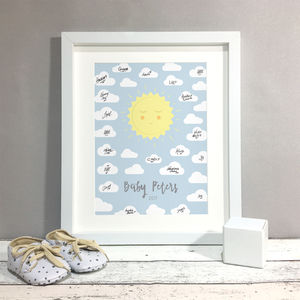 Sunshine Personalised Baby Shower Guest Book Print