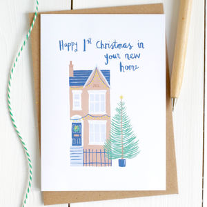'First Christmas In Your New Home' Illustrated Card - first christmas cards