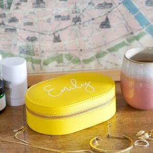 Personalised Oval Travel Jewellery Box In Yellow - gifts for her