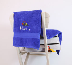 Kids Personalised Digger Bath Towel